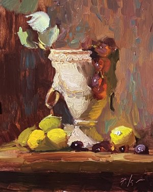 A photo of an original oil painting on panel of an Italian urn with lemons and grapes by Kelli Folsom
