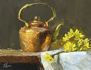 A photo of an original oil painting on panel of a still life of a copper teapot with yellow flowers by Kelli Folsom.