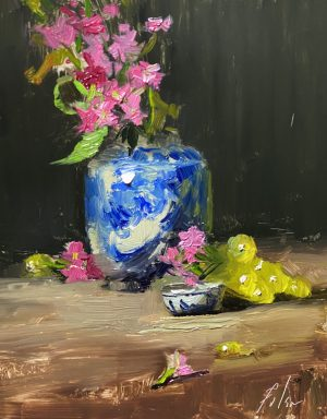 A photo of an original oil painting on panel of a still life painting of a ginger jar, pink flowers, and green grapes by Kelli Folsom
