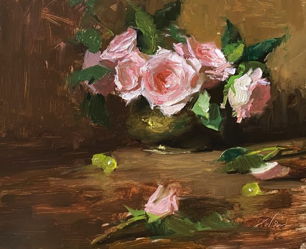 A photo of an original oil painting on panel of a floral still life of lush pink roses by Kelli Folsom.