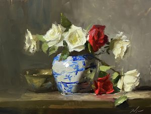 A photo of an original oil painting on panel of a floral still life or white and red roses by Kelli Folsom.