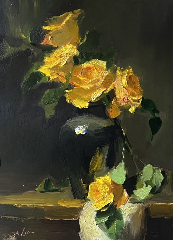 A photo of an original oil painting on panel of a floral still life of yellow roses and green leaves by Kelli Folsom.