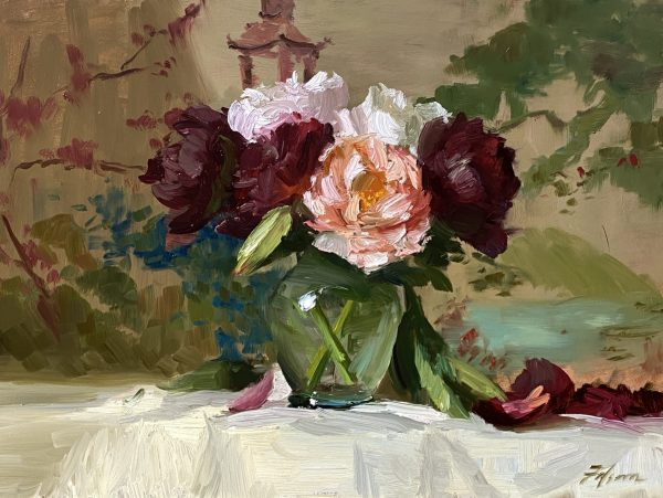A photograph of Asian Peonies in a vase