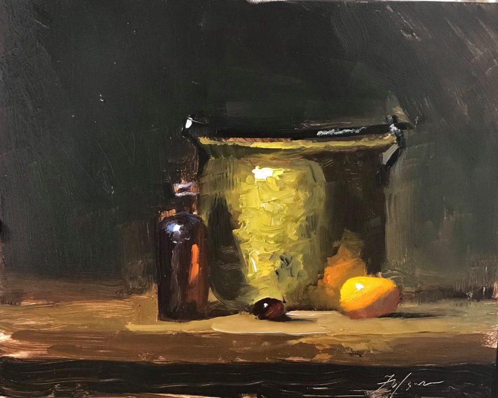 A still life oil painting of a brass pot