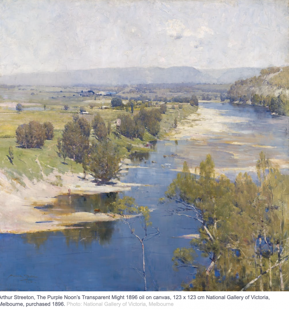 An oil painting of a rural scene with a river